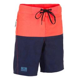 Lange Boardshorts Surfen 500 Tween Heather Kinder rot/blau