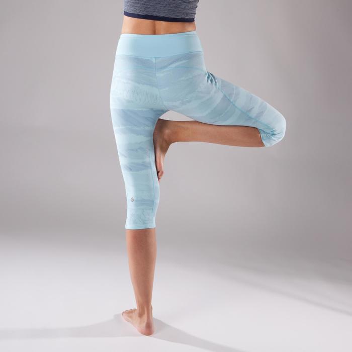 Dames kuitbroek voor dynamische yoga lichtblauw met print