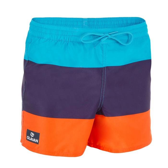 Kurze Boardshorts Surfen 100 Block Kinder orange
