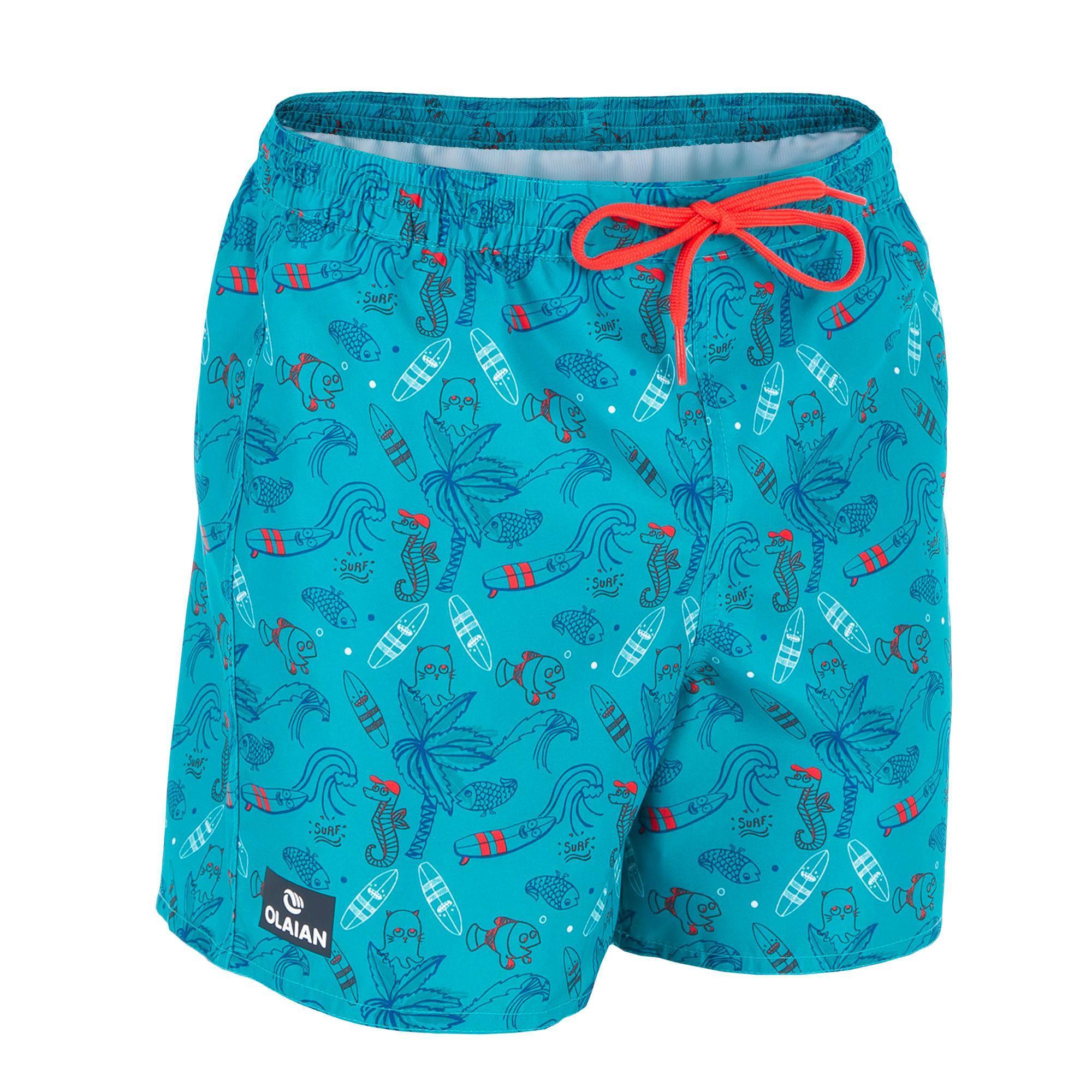 Olaian Korte Boardshort 100 Kid Beach Turquoise