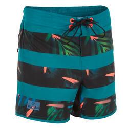 短版衝浪褲TWEEN500-花卉綠色