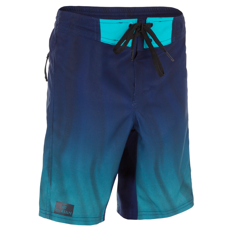 Olaian Lange boardshort 500 Tween Flow blauw
