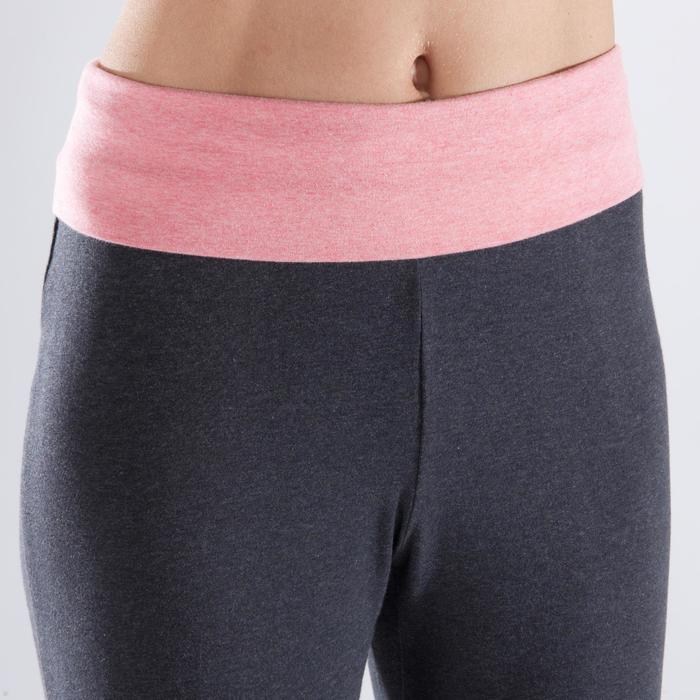 女款舒緩瑜珈有機棉七分褲 - 灰色/珊瑚紅