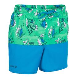 Surf zwemshort kort model 500 Kid Coast Green