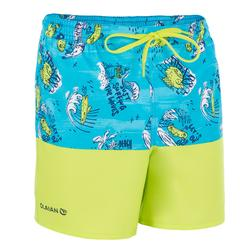 500 kid's short surfing boardshorts Coast Turquoise