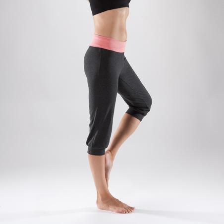 Women's Organic Cotton Gentle Yoga Cropped Bottoms - Grey/Coral