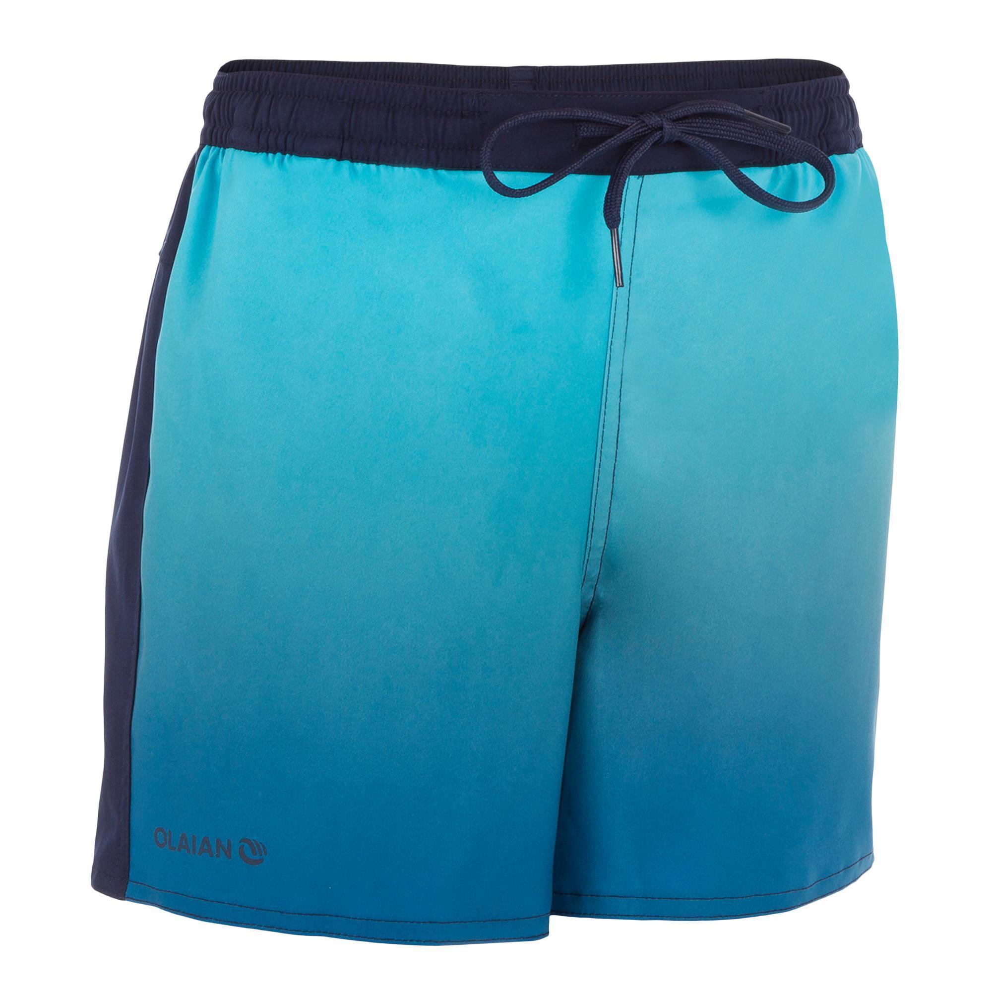 Jungen,Kinder,Kinder Kurze Boardshorts Surfen 500 Kid Sunset Kinder blau | 03608459589304
