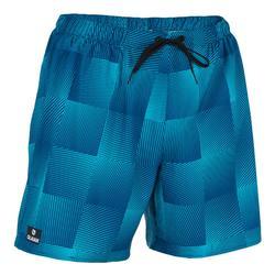 Korte heren zwembroek 100 Square Blue