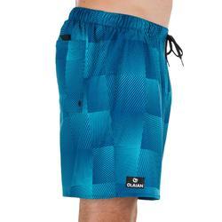 Kurze Boardshorts Surfen 100 Square Herren blau mit Print