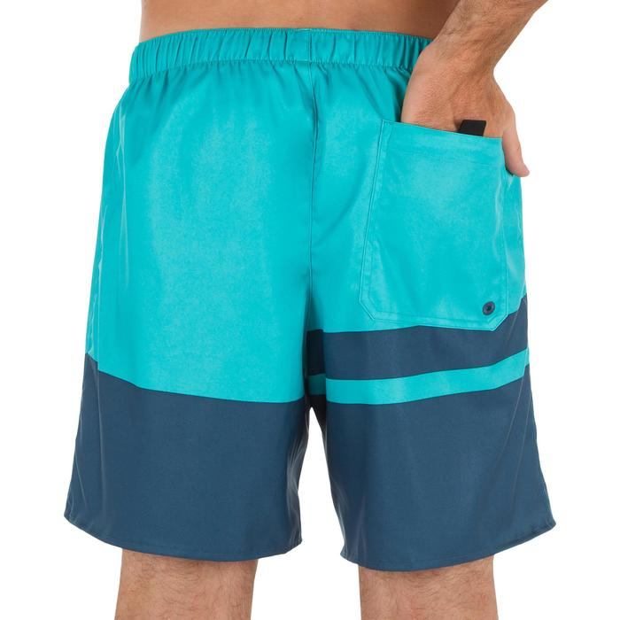 Korte surf boardshort 100 stripes blauw