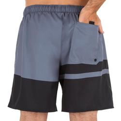 Boardshorts kurz Surfen 100 Stripes grau