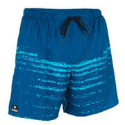 Modre plavalne kratke hlače s potiskom valov 100