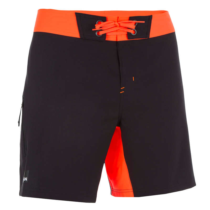 MEN'S INTERMEDIATE BOARDSHORTS Swimming - BBS 500 - Plain Black OLAIAN - Swimwear