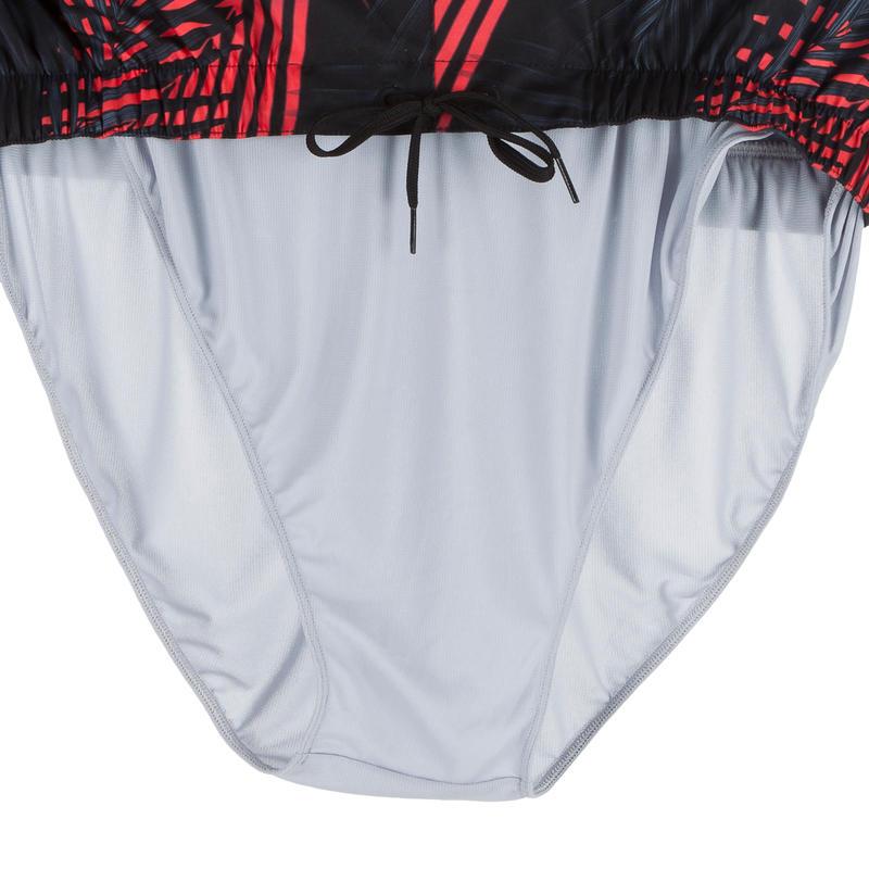 กางเกงชายหาดขาสั้นสำหรับโต้คลื่นรุ่น 100 (สีดำลายปาล์ม)