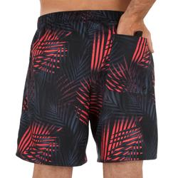 Korte surf boardshort 100 Palm zwart