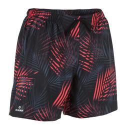 Bañador Surf Boardshort corto Olaian 100 palme hombre negro rojo