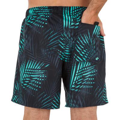 Короткі шорти 100 для серфінгу - М'ятні з принтом _QUOTE_Пальми_QUOTE_