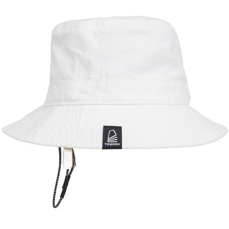Pieaugušo kokvilnas burāšanas saules cepure, balta