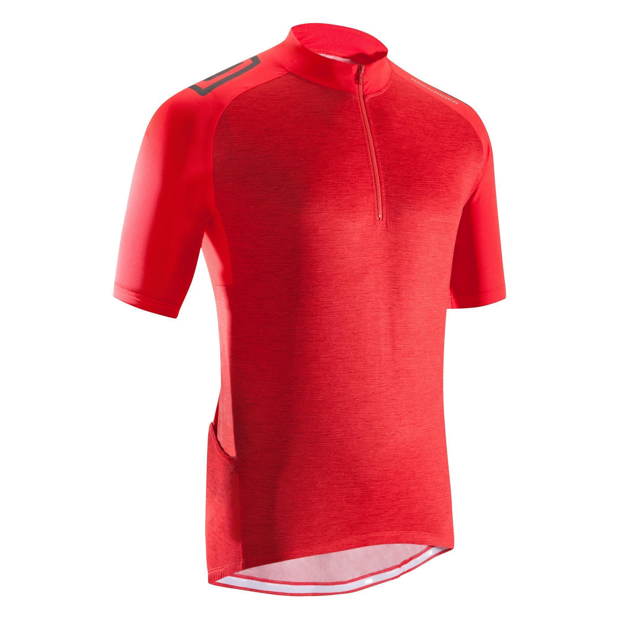 Fahrrad-Trikot MTB ST 500 Herren fluo rot   Sportbekleidung > Trikots > Fahrradtrikots   Rot - Bordeaux - Schwarz   Baumwolle   Rockrider