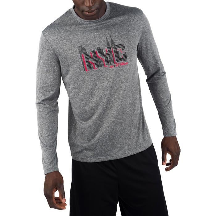 TEE SHIRT BASKETBALL HOMME CONFIRME FAST MANCHE-LONGUES NYC GRIS ROUGE - 1298906