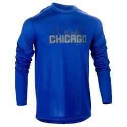 初學/進階長袖籃球運動T恤 Fast Chicago-藍色/灰色