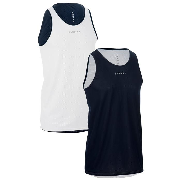 Mens' Intermediate Reversible Basketball Tank Top - White/Blue - 1298952