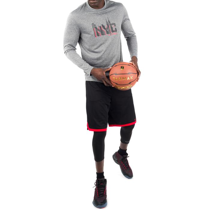 TEE SHIRT BASKETBALL HOMME CONFIRME FAST MANCHE-LONGUES NYC GRIS ROUGE - 1298961