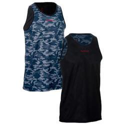 可雙面穿式初學/進階籃球運動背心-灰色/黑色