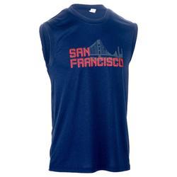 Mouwloos basketbalshirt halfgevorderde heren Fast San Francisco marineblauw rood