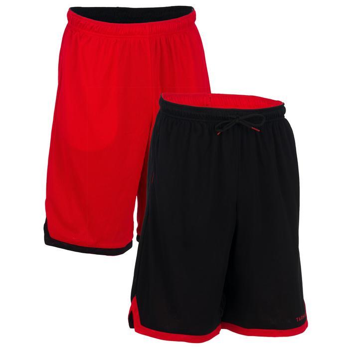 Basketball Wendeshorts SH500R Herren Fortgeschrittene rot/schwarz
