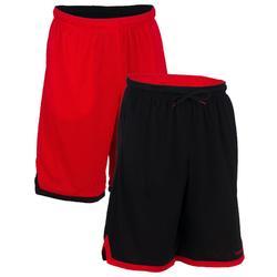 Omkeerbare basketbalshort SH500R voor halfgevorderde heren rood/zwart