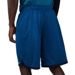 Omkeerbare basketbalshort SH500R voor halfgevorderde heren marineblauw/geel