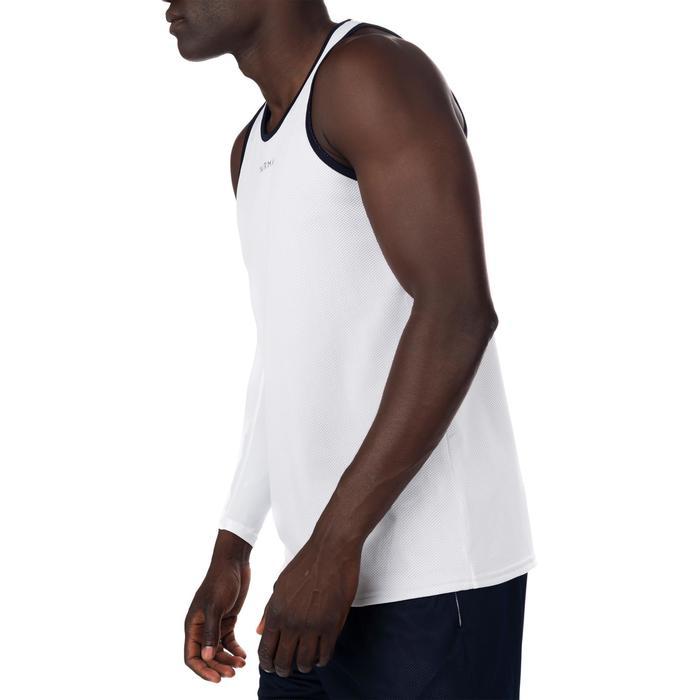 Omkeerbaar mouwloos basketbalshirt voor halfgevorderde heren wit/blauw
