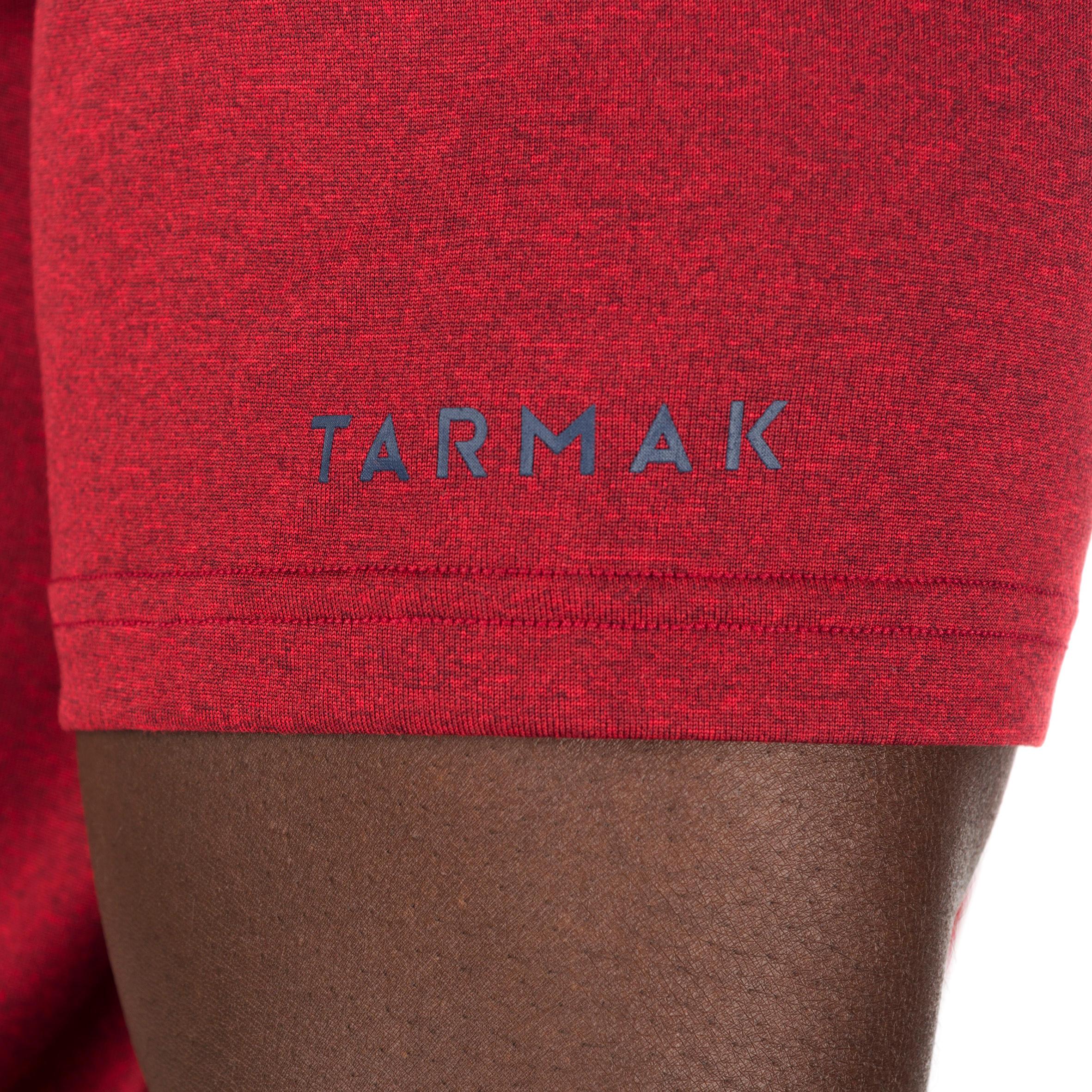 T-SHIRT DE BASKETBALL HOMME DÉBUTANT/CONFIRMÉ DYNAMIQUE TARMAK NYC GRIS ROUGE