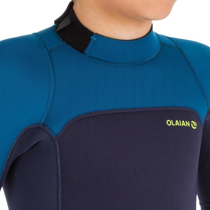 Combinaison SURF 500 Néoprène 4/3 mm enfant bleu jaune - 1299537
