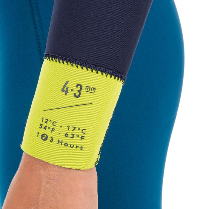 Kinder wetsuit 500 neopreen 4/3 mm blauw geel - 1299545