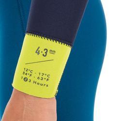Kinder wetsuit 500 neopreen 4/3 mm blauw geel