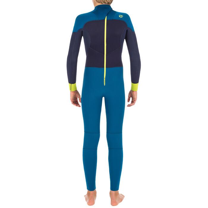 Combinaison SURF 500 Néoprène 4/3 mm enfant bleu jaune - 1299568