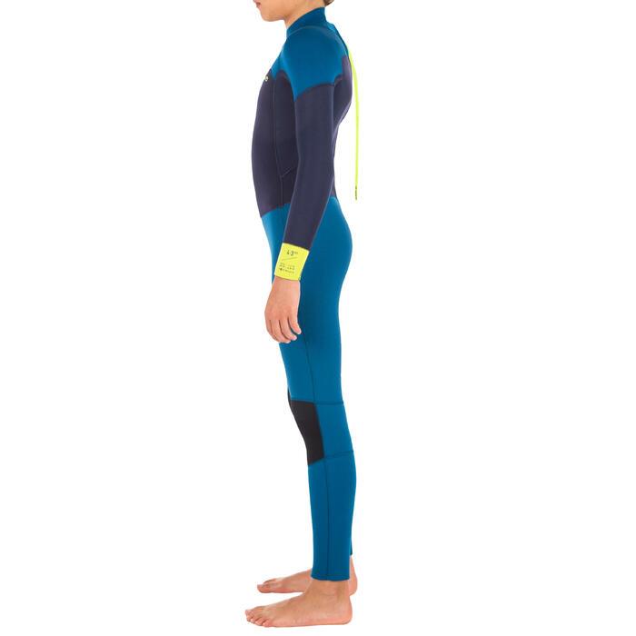 Combinaison SURF 500 Néoprène 4/3 mm enfant bleu jaune - 1299570