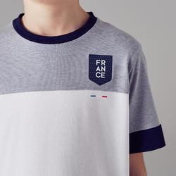Voetbalshirt voor kinderen FF100 Frankrijk wit gemêleerd grijs