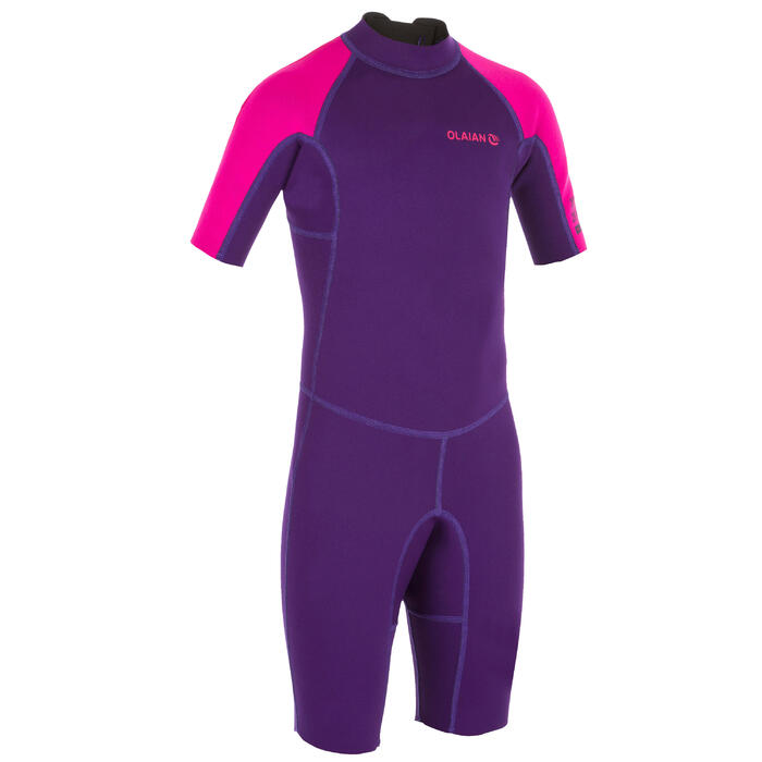 Neoprenanzug Shorty Surfen 100 1,5mm Kinder violett/rosa