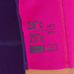 Neopreen shorty voor surfen kinderen 100 1,5 mm paars/roze
