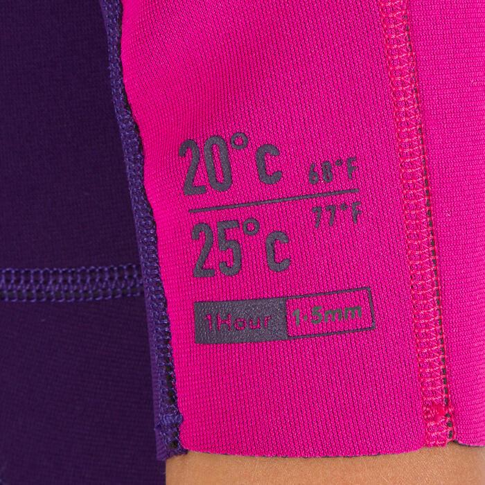Traje Surf Shorty 100 Neopreno 1,5mm niños Violeta rosa
