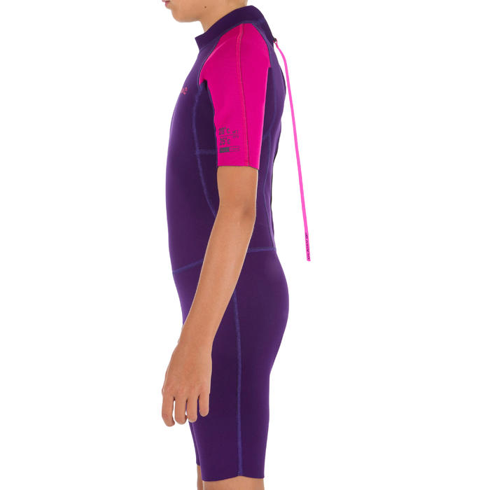 Combinaison Surf Shorty 100 Néoprène 1,5mm enfant violet rose