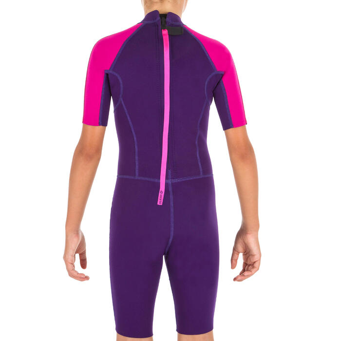 Shorty wetsuit kind 100 1,5 mm paars roze