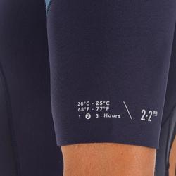 Surfshorty voor heren 500 stretchneopreen 2 mm blauw/grijs