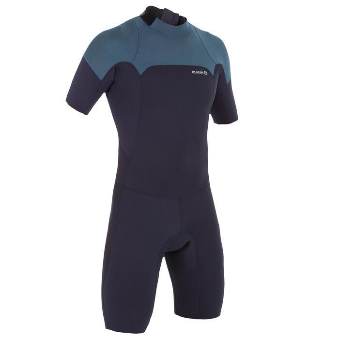 Heren shorty 500 voor surfen stretch neopreen 2 mm blauw grijs - 1300085