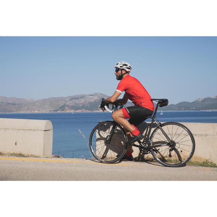 CULOTTE CICLISMO CARRETERA HOMBRE ROADCYCLING 500 NEGRO/ROJO