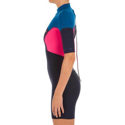 Shorty 500 femme néoprène 2mm stretch femme bleu rose