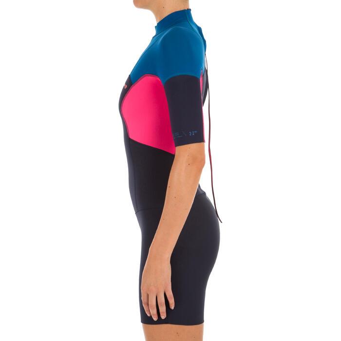 Dames shorty 500 stretch neopreen 2 mm blauw roze - 1300125